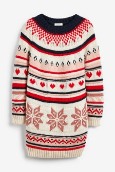 Snowflake Fairisle Pattern Jumper Dress (3-16yrs)