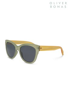 Oliver Bonas Green Colourblock Wayfarer Sunglasses