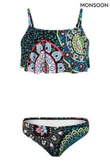 Monsoon Black Mandala Print Frill Bikini Set