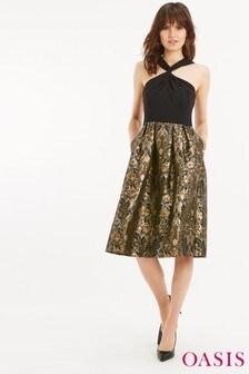 Oasis Black Warner 2-In-1 Midi Dress