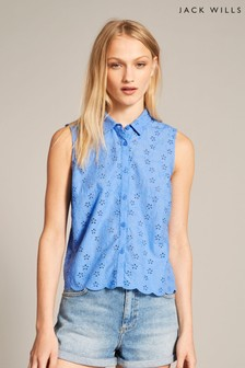 Jack Wills Cornflower Aldsworth Broderie Sleeveless Shirt