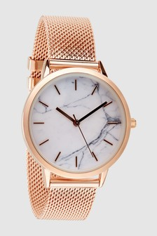 Mesh Marble Effect Dial Watch