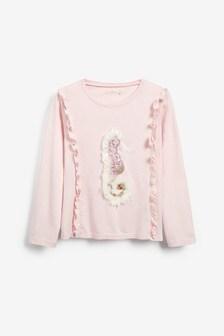 Ružové predĺžené tričko Billieblush s motívom morského koníka