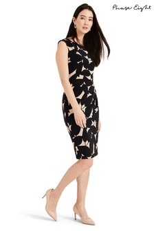 Phase Eight Black Laurita Leaf Print Jersey Dress