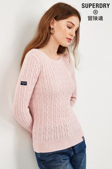 Superdry Pink Cable Knit Jumper
