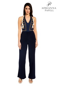 Adrianna Papell Blue Scarf Printed Jumpsuit