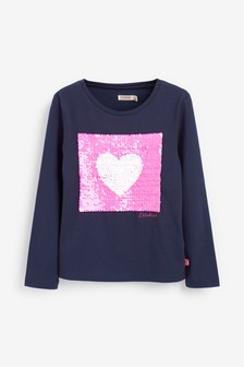 Billie Blush Navy Heart Longline T-Shirt