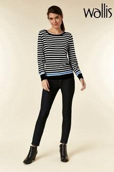 Wallis Blue Flash Stripe Contrast Top
