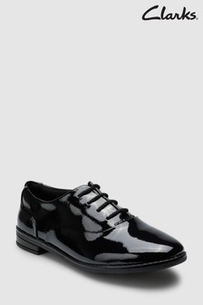 Clarks Black Patent Leather Drew Star Lace-Up Shoes
