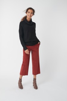 Cord Wide Crop Trousers