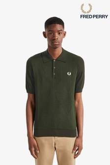 Fred Perry Green Tonal Argyle Knitted Poloshirt