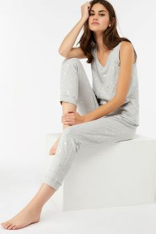 Monsoon Grey Luna Foil Print Trouser