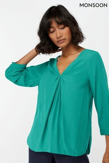 Monsoon Ladies Green Salvina Twist Front Blouse