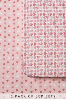 Set of 2 Heart Print Fitted Sheets