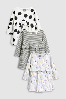 Long Sleeve Dress Three Pack (3mths-6yrs)