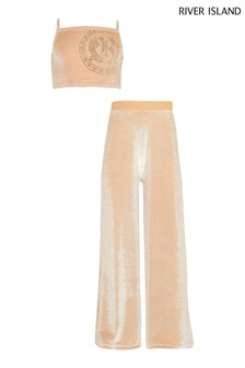 River Island Brown Velour Top And Trouser Set