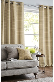 Windowpane Check Eyelet Curtains