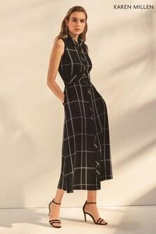 Karen Millen Black/White Soft Check Dress