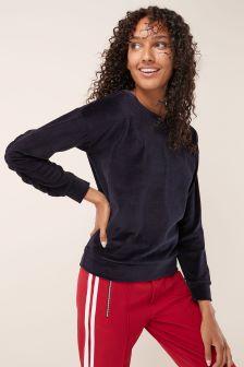 Velour Ruffle Sweater