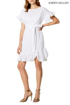 Karen Millen White Cotton Voile Ruffle Dress