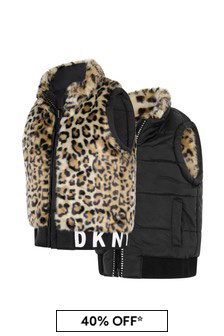 Girls Leopard Faux Fur Print Reversible Jacket
