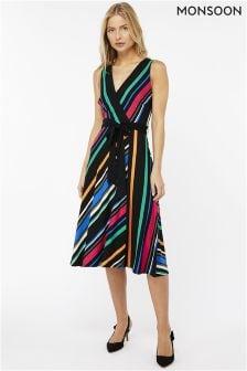 Monsoon Black Colette Stripe Dress