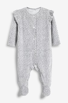Spot And Frill Velour Sleepsuit (0mths-2yrs)