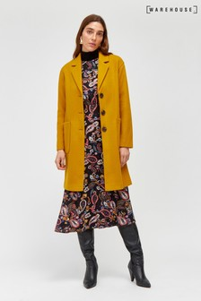 Warehouse Yellow Single Breasted Coat