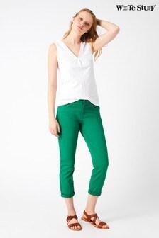 Зеленые укороченные брюки прямого кроя White Stuff Southern Seas
