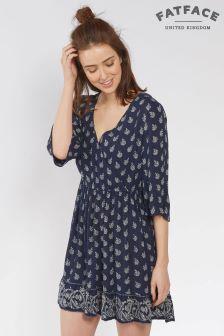 Темно-синее платье с запахом FatFace Abigail Woodblock