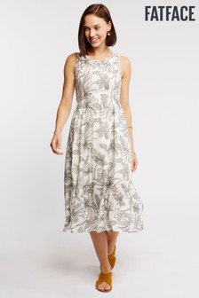 FatFace Natural Connie Mono Palm Dress