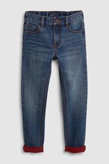Зауженные джинсы с красными отворотами (3-16 лет)