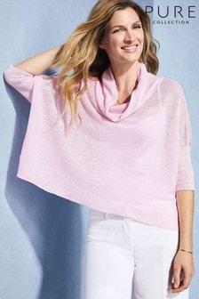 Pure Collection Pullover aus Leinen mit drapiertem Ausschnitt