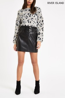River Island Black PU Mini Skirt