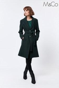 M&Co Green Faux Fur Trim Coat