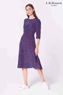 L.K.Bennett Red Alicia Poppy Print Silk Dress
