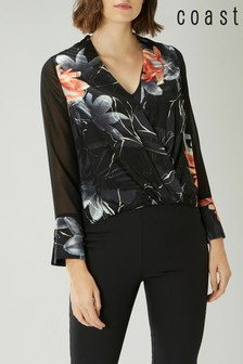 Coast Black Moira Jacquard Wrap Top
