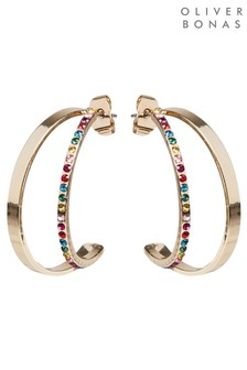 Oliver Bonas Jenny Two Row Stone Detail Hoop Earrings