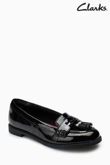 Clarks Black Patent Leather Preppy Prize Junior Loafer