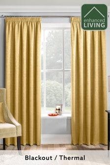 Enhanced Living Yellow Matrix Thermal Blackout Pencil Pleat Curtains