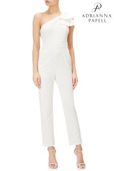 Adrianna Papell Ivory One Shoulder Jumpsuit