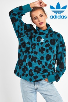 adidas Originals Teal Leopard Sherpa 1/4 Zip Top
