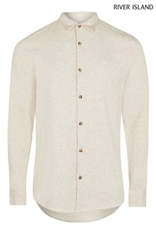 River Island Ecru Embroidered Jersey Muscle Shirt