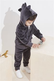 Velour Dino Spike Zip Through And Jogger Set (3mths-6yrs)