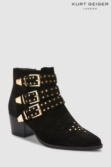 KG Black Suede Studded Strap Tiger Western Boot