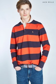 Jack Wills Navy/Red Camber Rugby Stripe Shirt