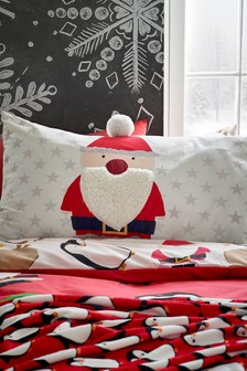 Santa Fleece And Pom Pom Pillowcase