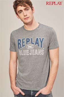 Replay® Grey Vintage Logo T-Shirt
