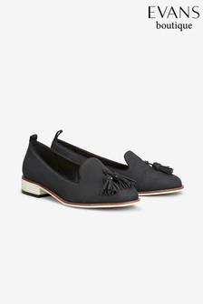 Evans Black Extra Wide Tassel Slip-On Shoe