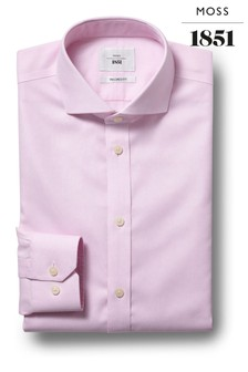 Moss 1851 Tailored Fit Pink Single Cuff Zero Iron Shirt